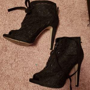 Women's black lace peep toe booties